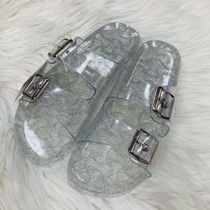 Clear glitter buckle sandal